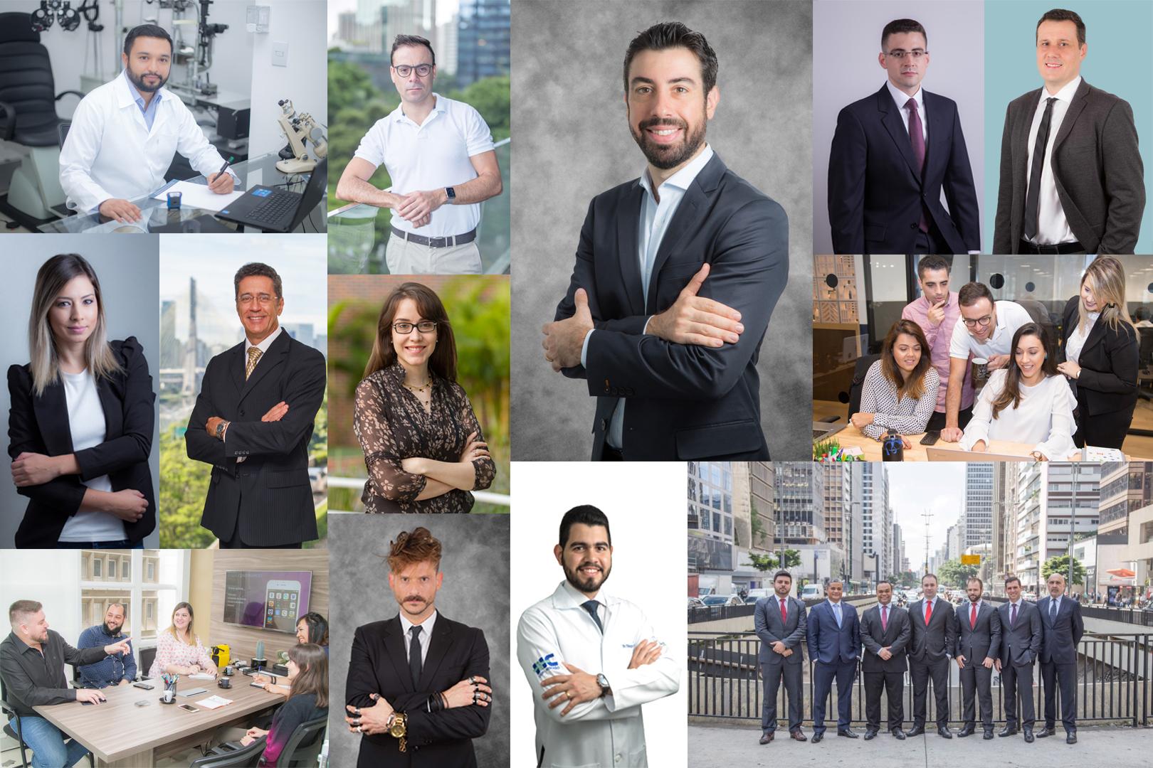 Montagem de várias produções de retratos corporativos realizados pela Risnic Fotografia