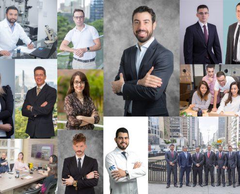 Montagem de várias produções de retrato corporativo profissional realizados pela Risnic Fotografia