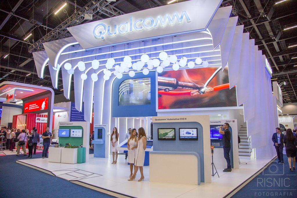 Nesta Fotografia Corporativa temos o Stand da Qualcomm na Feira Futurecom, realizado no São Paulo Expo em Outubro de 2018